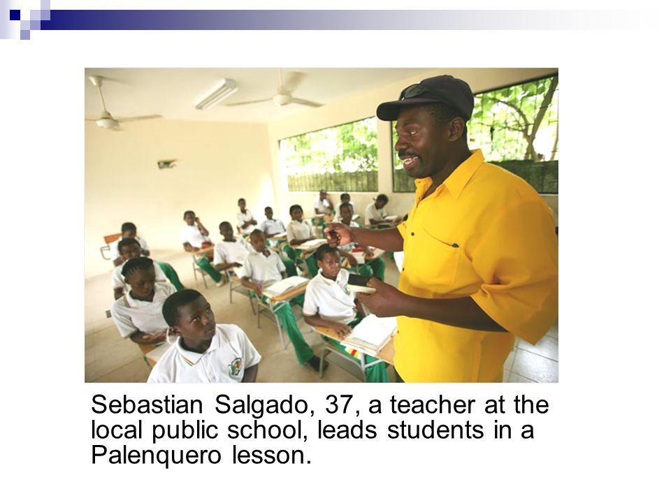 Sebastian Salgado, 37, a teacher at the local public school, leads students in a Palenquero lesson.