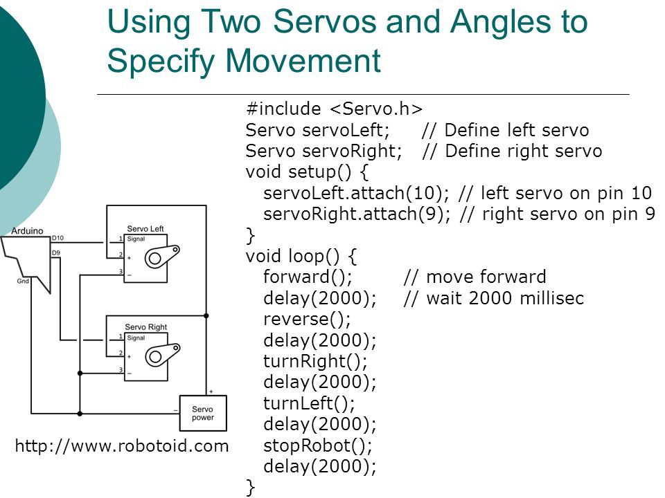 Using Two Servos and Angles to Specify Movement #include Servo servoLeft; // Define left servo Servo servoRight; // Define right servo void setup() {