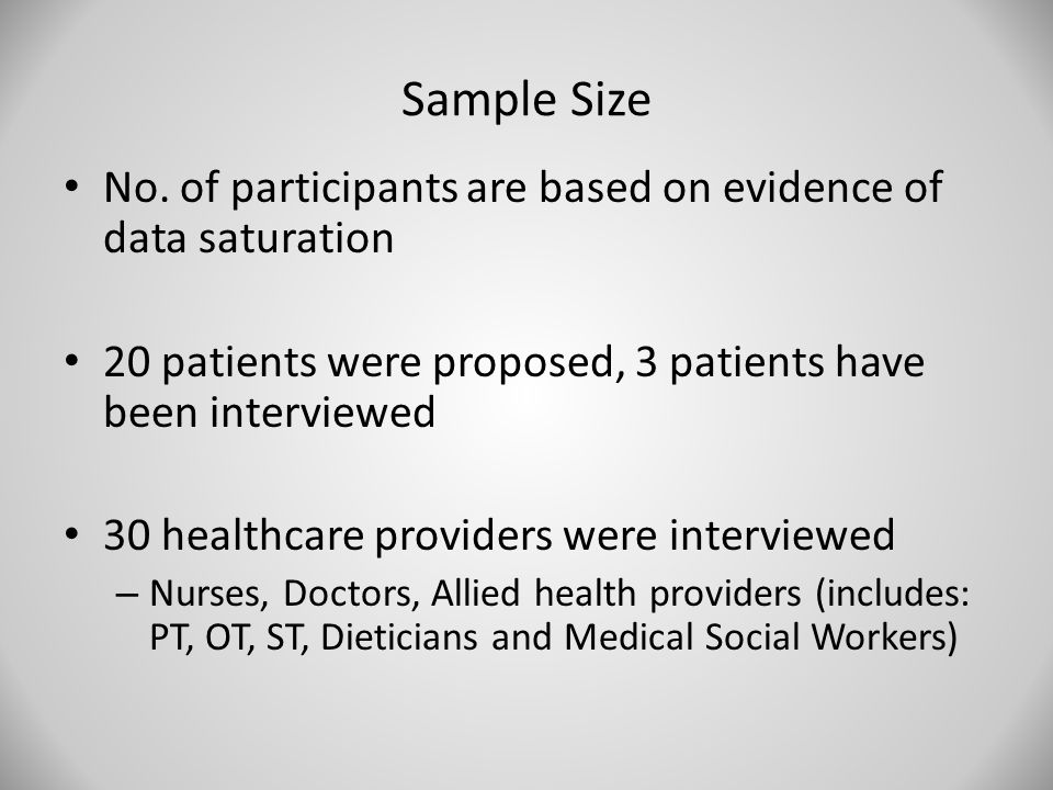 Sample Size No. of participants are based on evidence of data saturation 20 patients were proposed, 3 patients have been interviewed 30 healthcare pro