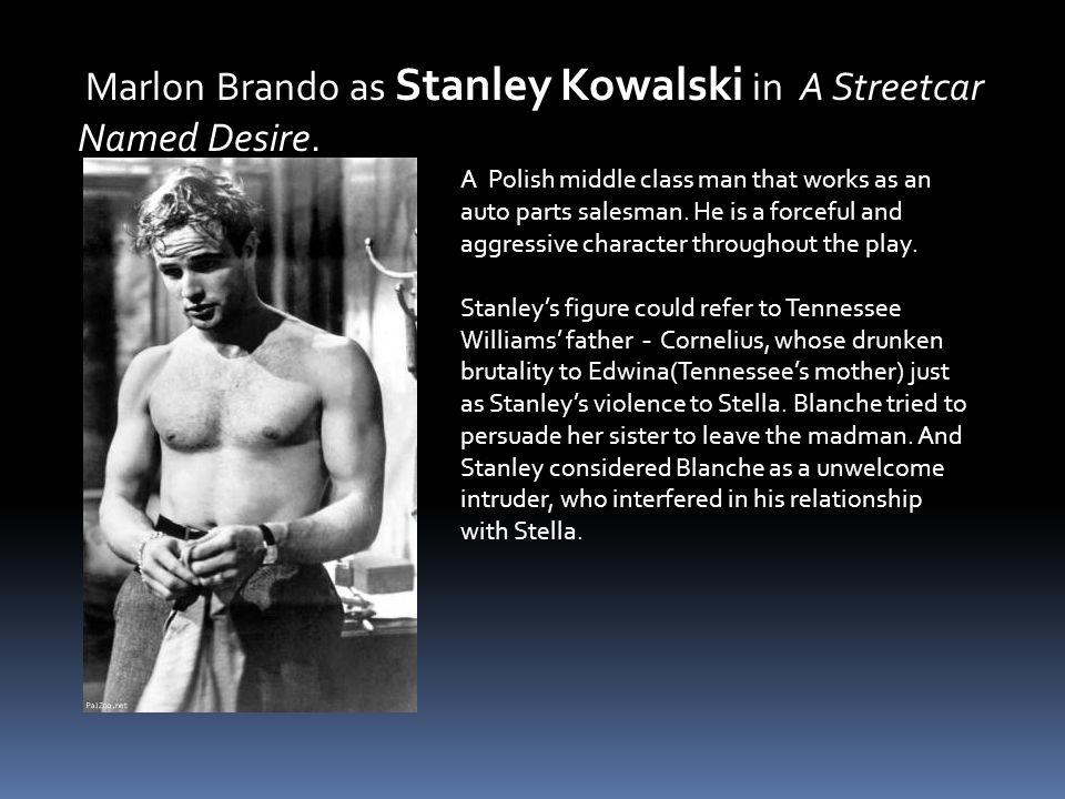 A Polish middle class man that works as an auto parts salesman. He is a forceful and aggressive character throughout the play. Stanley's figure could