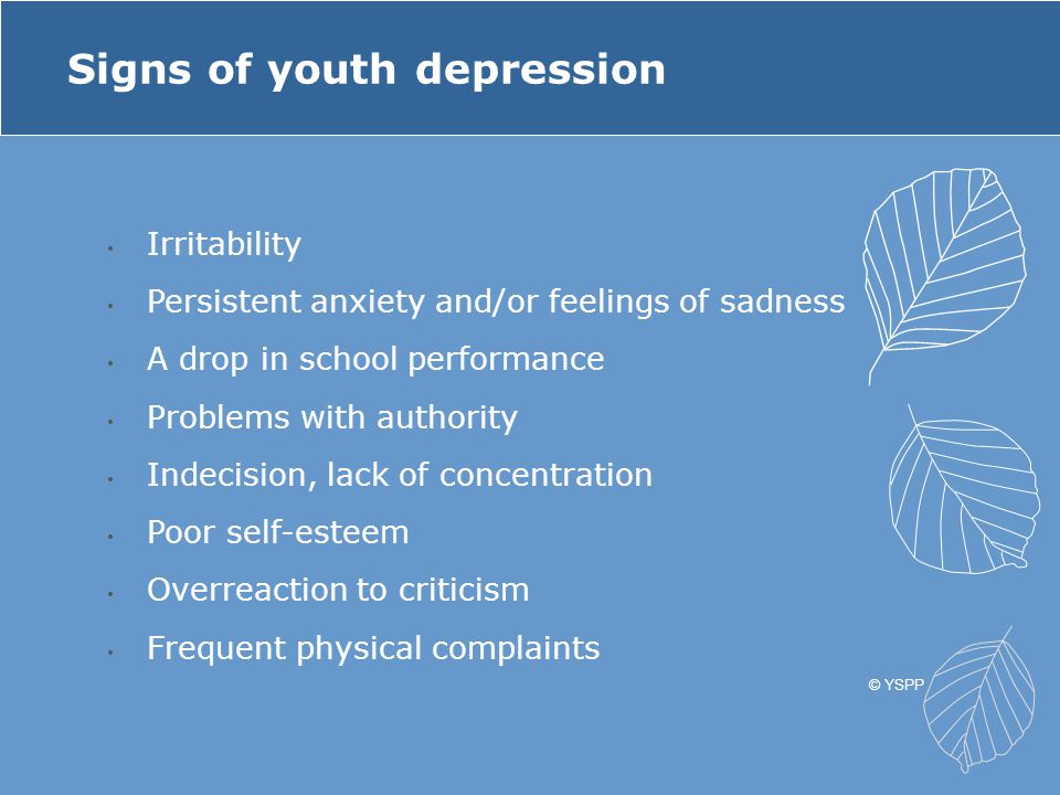 Irritability Persistent anxiety and/or feelings of sadness A drop in school performance Problems with authority Indecision, lack of concentration Poor