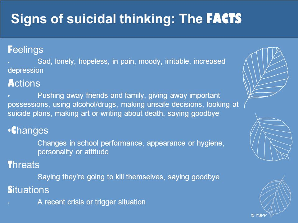 Signs of suicidal thinking: The FACTS F eelings Sad, lonely, hopeless, in pain, moody, irritable, increased depression A ctions Pushing away friends a
