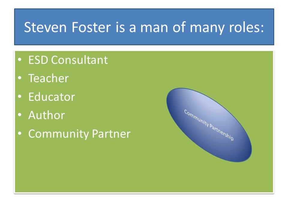Steven Foster is a man of many roles: ESD Consultant Teacher Educator Author Community Partner ESD Consultant Teacher Educator Author Community Partner