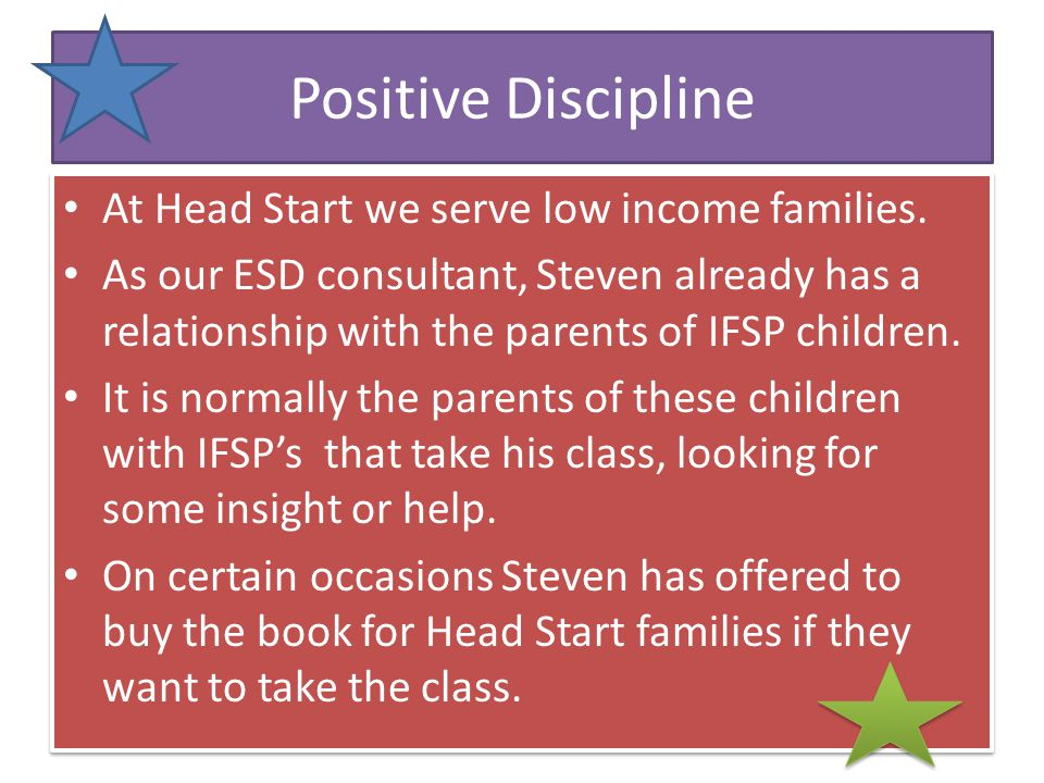 Positive Discipline Parenting Class For parents who are looking for long term parenting skills to help their children.