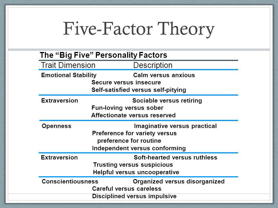 "Five-Factor Theory The ""Big Five"" Personality Factors Trait Dimension Description Emotional Stability Calm versus anxious Secure versus insecure Self-"