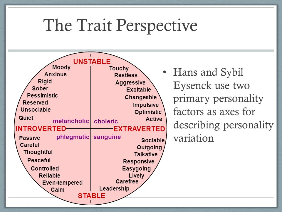 The Trait Perspective Hans and Sybil Eysenck use two primary personality factors as axes for describing personality variation UNSTABLE STABLE choleric