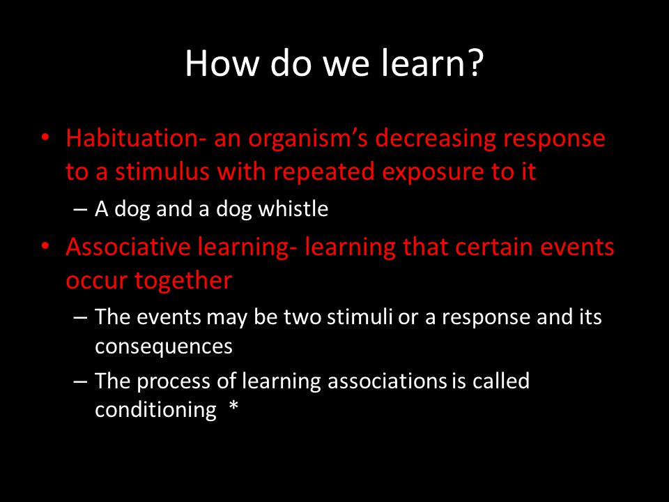 How do we learn? Habituation- an organism's decreasing response to a stimulus with repeated exposure to it – A dog and a dog whistle Associative learn
