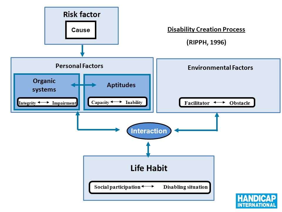 Systèmes organiques Environmental Factors Life Habit Interaction Cause Personal Factors Disability Creation Process (RIPPH, 1996) Organic systems Inte