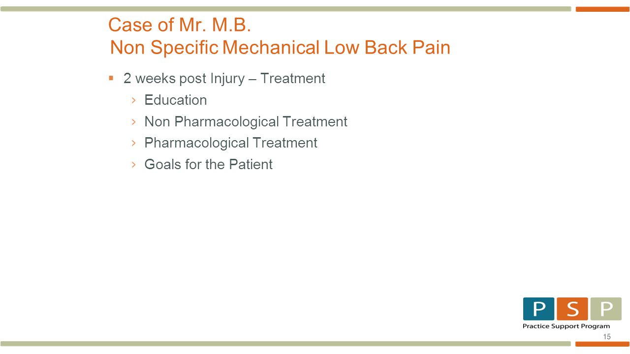15  2 weeks post Injury – Treatment › Education › Non Pharmacological Treatment › Pharmacological Treatment › Goals for the Patient Case of Mr.