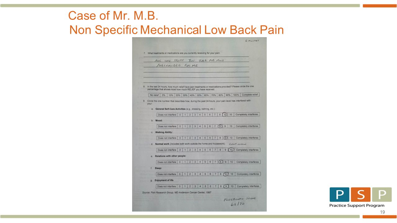 19 Case of Mr. M.B. Non Specific Mechanical Low Back Pain