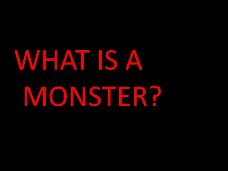WHAT IS A MONSTER