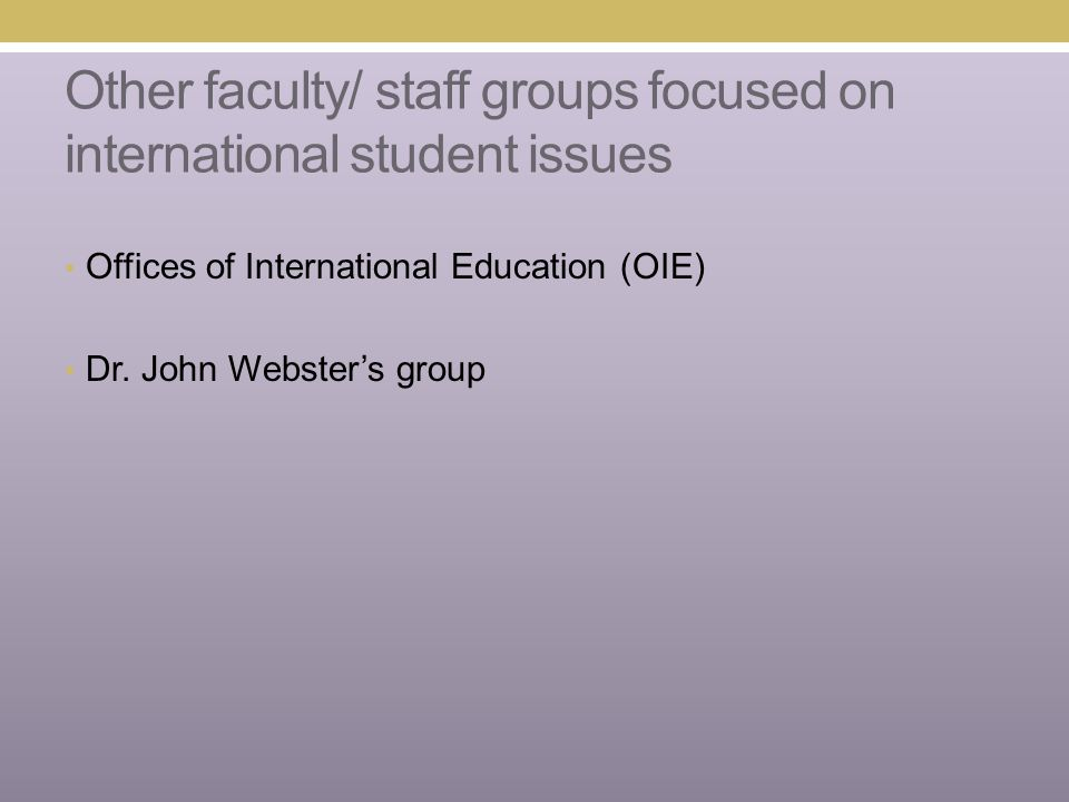 Other faculty/ staff groups focused on international student issues Offices of International Education (OIE) Dr. John Webster's group
