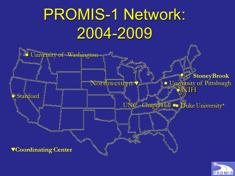 PROMIS-1 Network: 2004-2009 UNC –Chapel Hill ● ● Duke University* ● Stanford ● ● ● University of Pittsburgh ● University of Washington Northwestern ♥ NIH ● NIH ♥Coordinating Center StoneyBrook