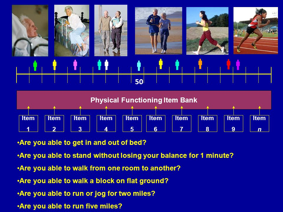 Physical Functioning Item Bank Item 1 Item 2 Item 3 Item 4 Item 5 Item 6 Item 7 Item 8 Item 9 Item n        50 Are you able to get in and out of bed.