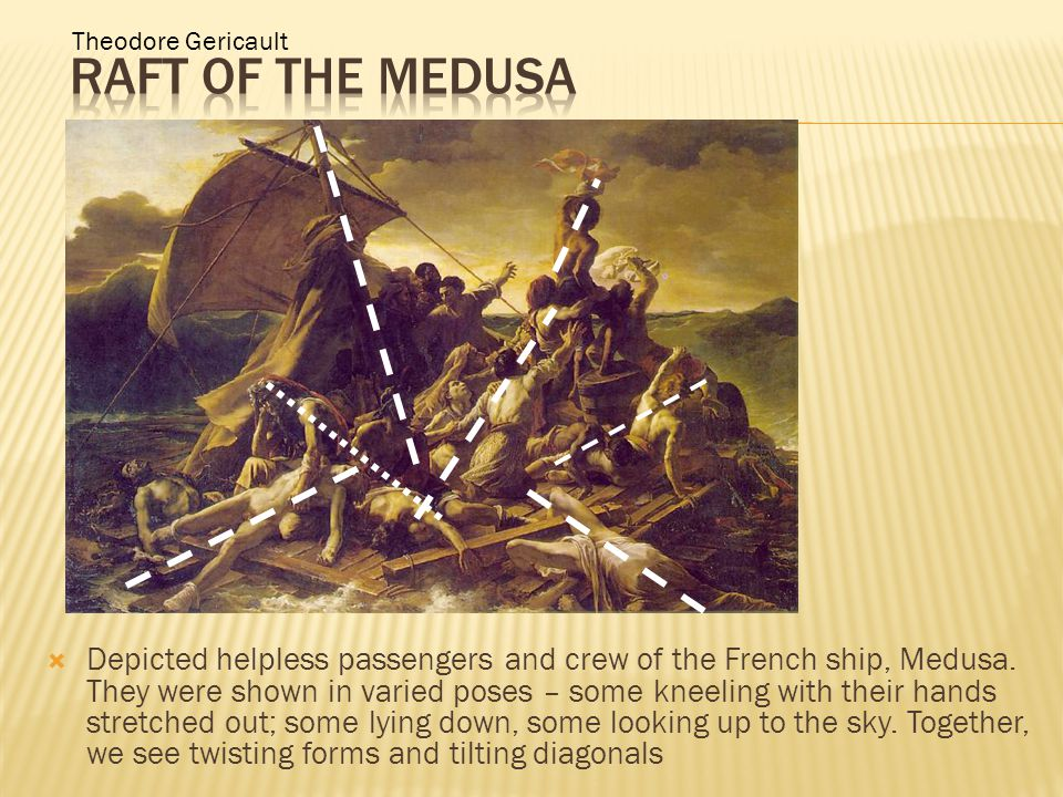  Depicted helpless passengers and crew of the French ship, Medusa.