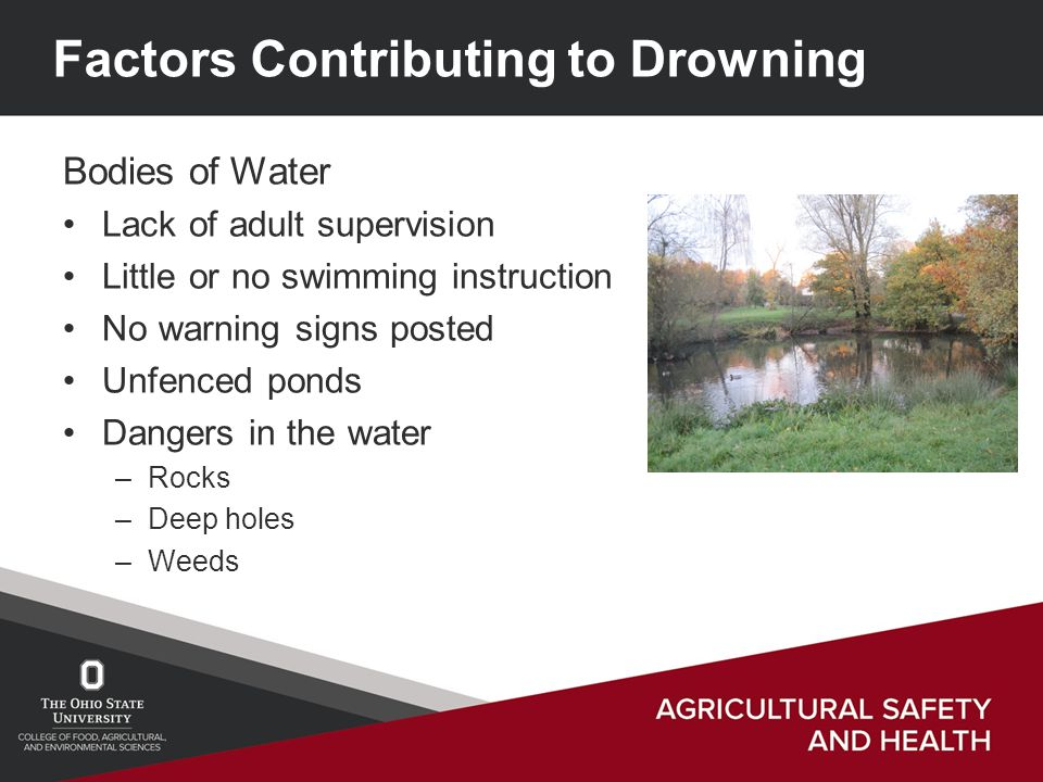 Factors Contributing to Drowning Bodies of Water Lack of adult supervision Little or no swimming instruction No warning signs posted Unfenced ponds Dangers in the water –Rocks –Deep holes –Weeds