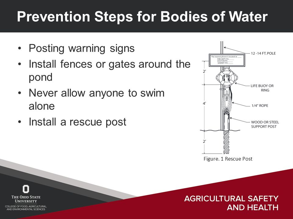 Prevention Steps for Bodies of Water Posting warning signs Install fences or gates around the pond Never allow anyone to swim alone Install a rescue post Figure.