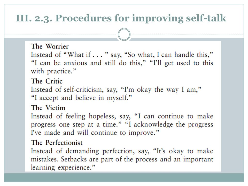 III. 2.3. Procedures for improving self-talk