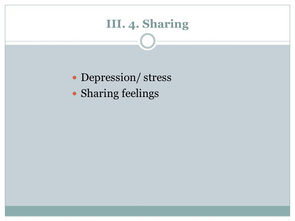 III. 4. Sharing Depression/ stress Sharing feelings