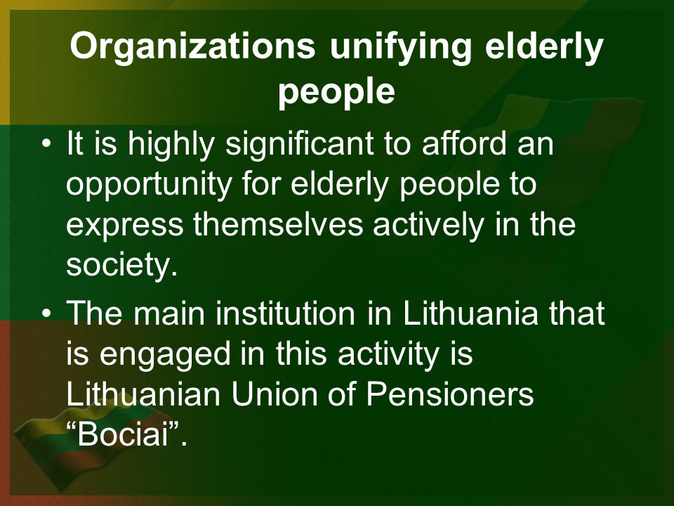 It is highly significant to afford an opportunity for elderly people to express themselves actively in the society.