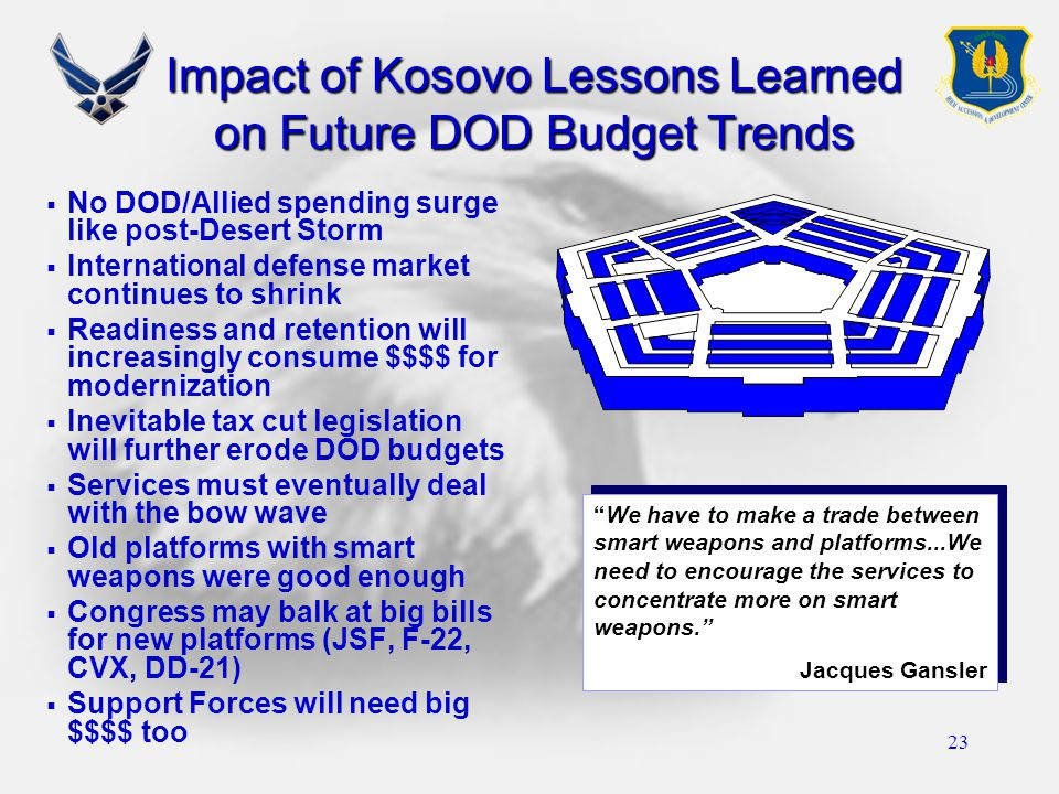 23 Impact of Kosovo Lessons Learned on Future DOD Budget Trends  No DOD/Allied spending surge like post-Desert Storm  International defense market c