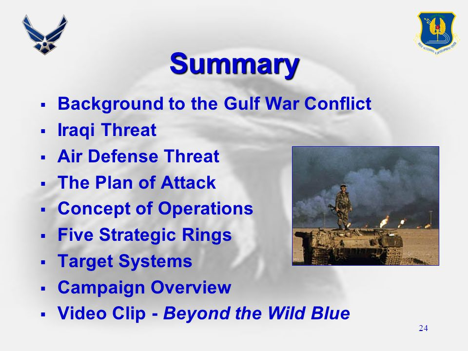 24 Summary  Background to the Gulf War Conflict  Iraqi Threat  Air Defense Threat  The Plan of Attack  Concept of Operations  Five Strategic Rin