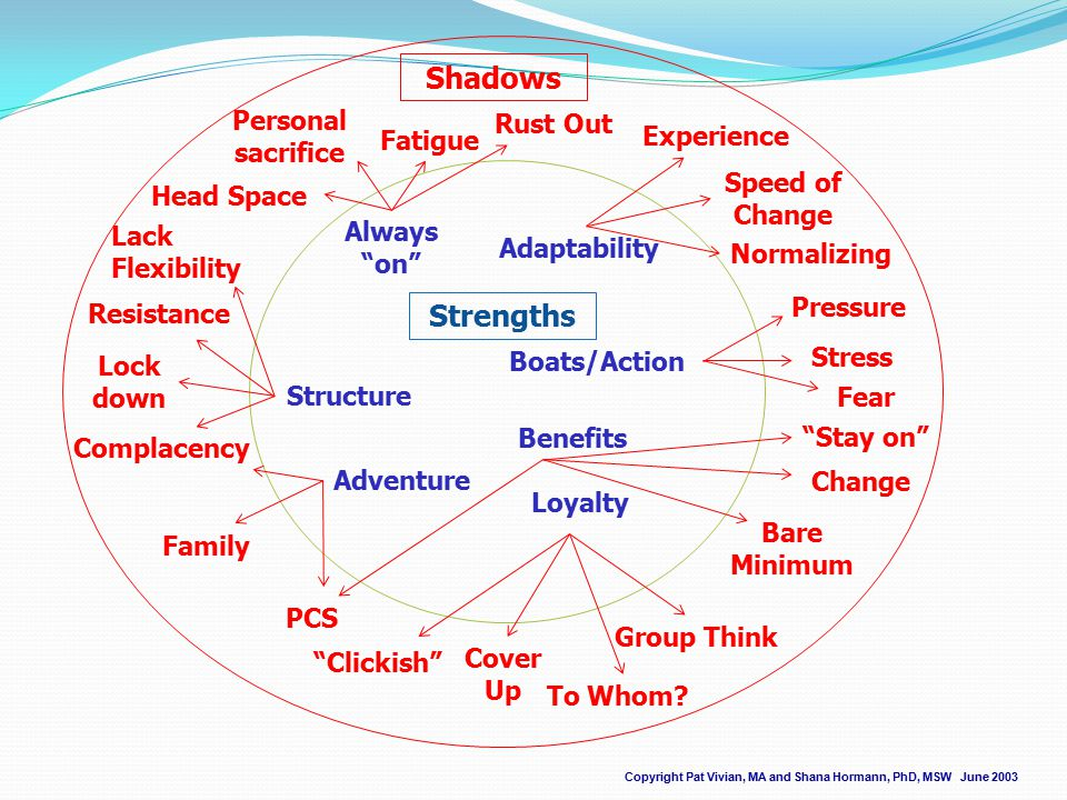Strengths Copyright Pat Vivian, MA and Shana Hormann, PhD, MSW June 2003 Shadows Structure Adaptability Adventure Loyalty Benefits Boats/Action Always on Complacency Family PCS Clickish To Whom.