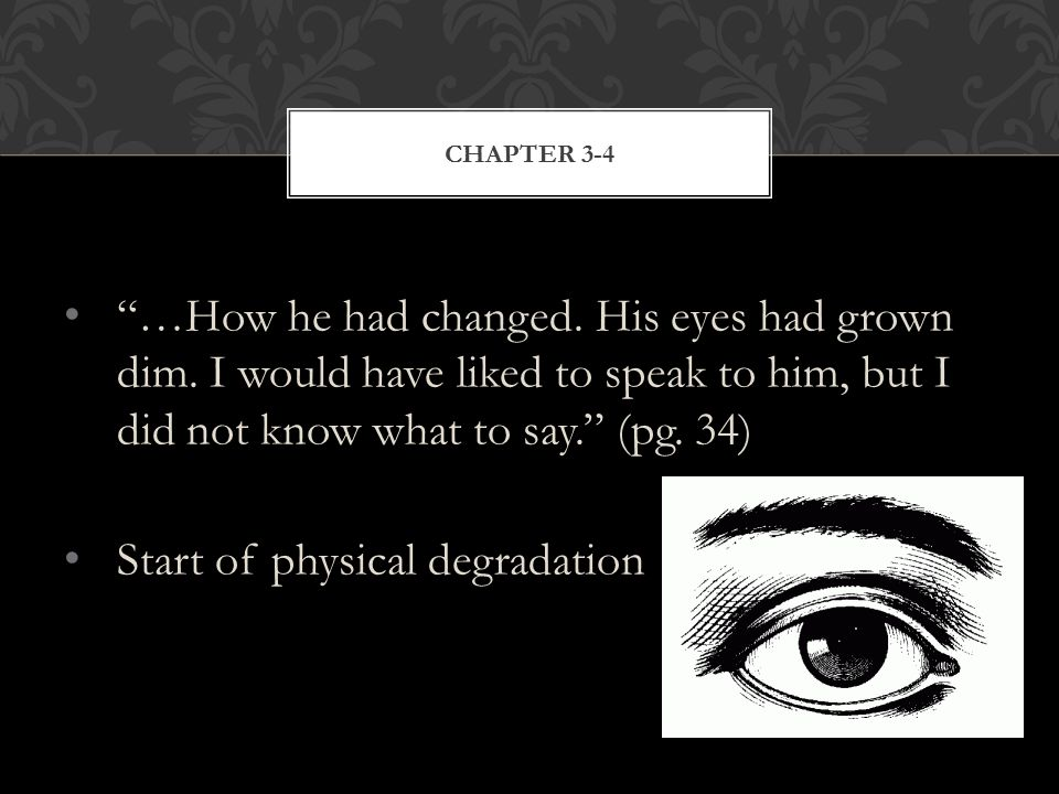 …How he had changed. His eyes had grown dim.