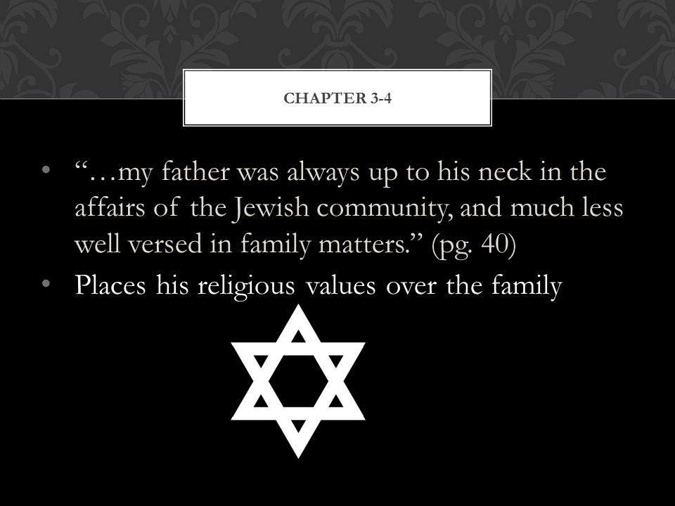 …my father was always up to his neck in the affairs of the Jewish community, and much less well versed in family matters. (pg.