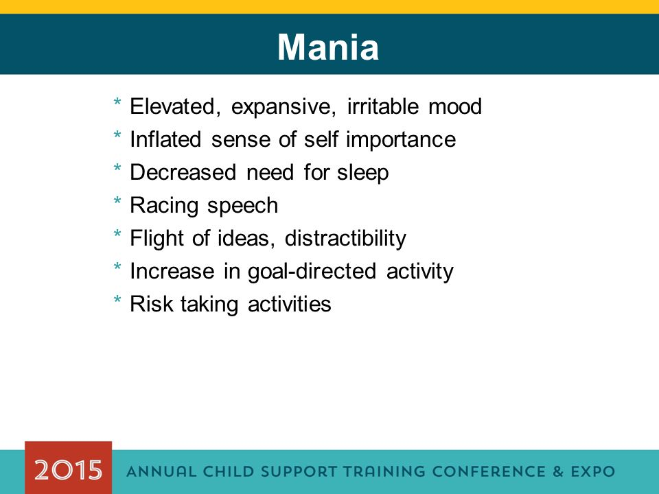 Mania *Elevated, expansive, irritable mood *Inflated sense of self importance *Decreased need for sleep *Racing speech *Flight of ideas, distractibility *Increase in goal-directed activity *Risk taking activities