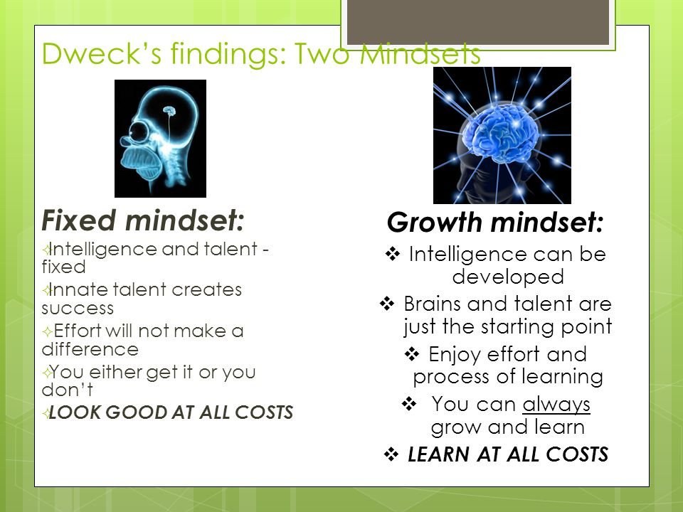 Dweck's findings: Two Mindsets Fixed mindset:  Intelligence and talent - fixed  Innate talent creates success  Effort will not make a difference  You either get it or you don't  LOOK GOOD AT ALL COSTS Growth mindset:  Intelligence can be developed  Brains and talent are just the starting point  Enjoy effort and process of learning  You can always grow and learn  LEARN AT ALL COSTS