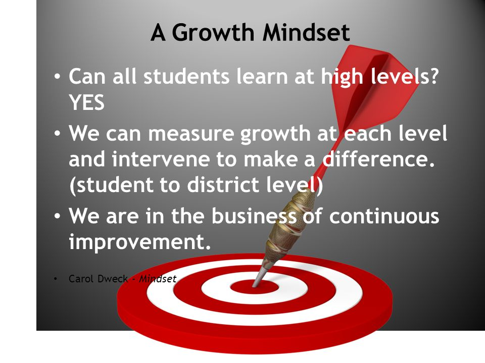 ON TARGET A Growth Mindset Can all students learn at high levels.