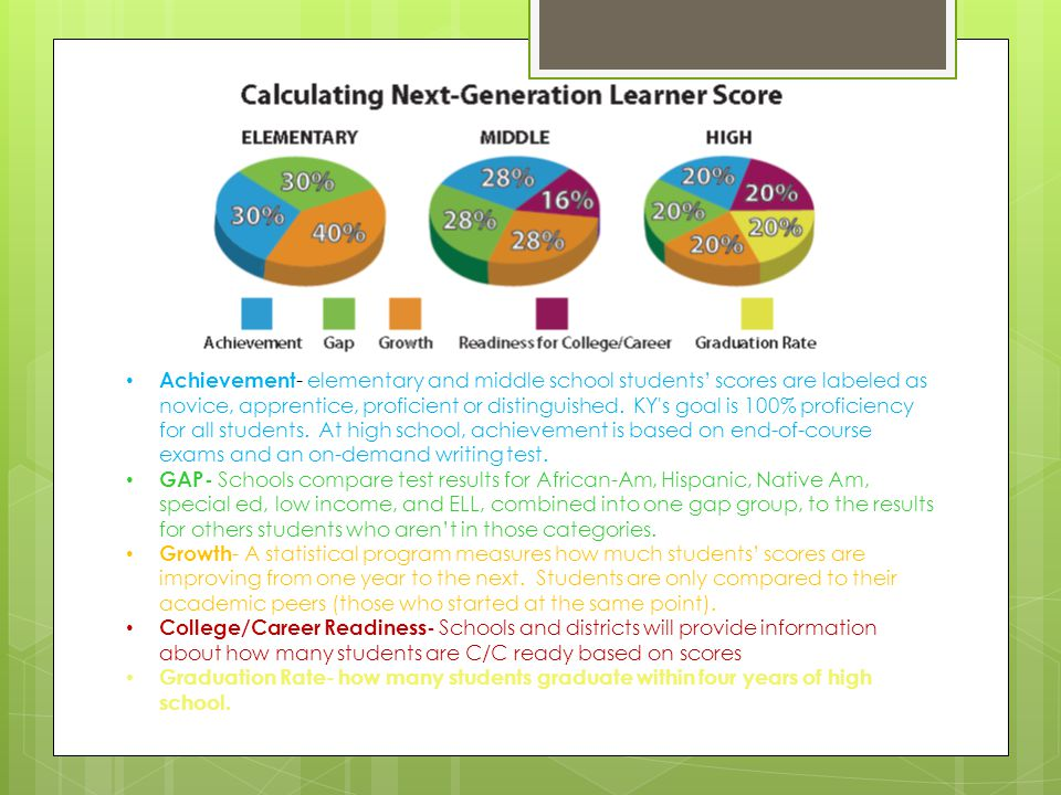 Achievement - elementary and middle school students' scores are labeled as novice, apprentice, proficient or distinguished.