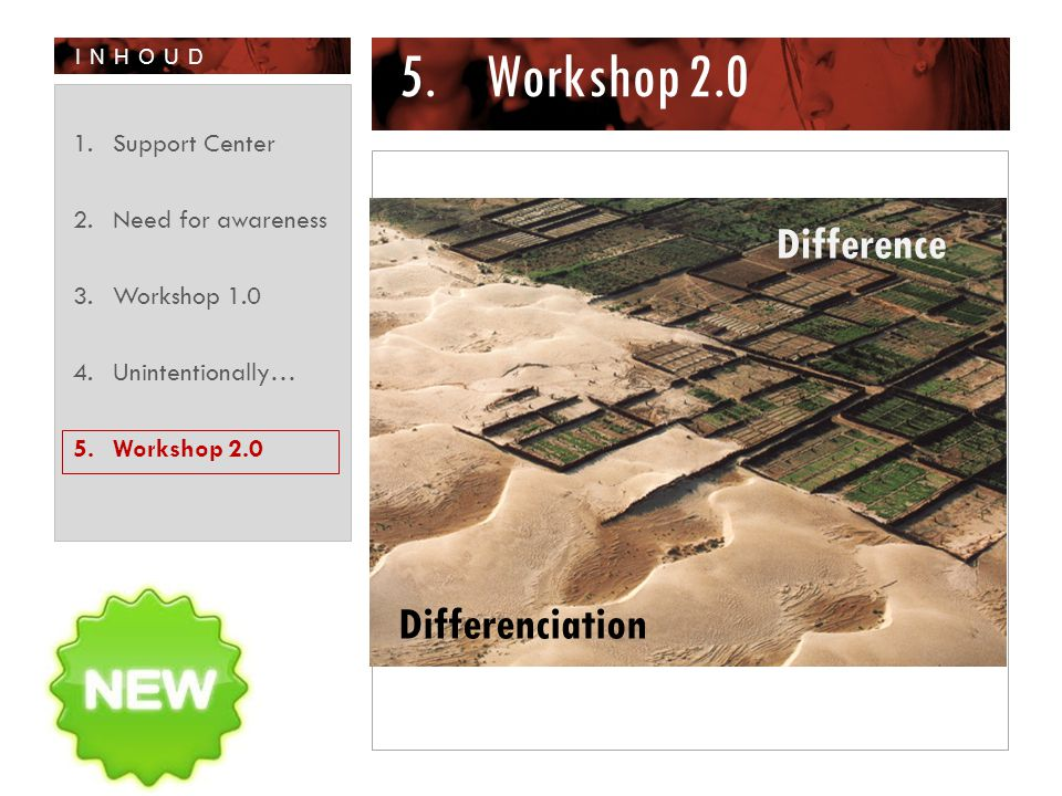 INHOUD 5.Workshop 2.0 1.Support Center 2.Need for awareness 3.Workshop 1.0 4.Unintentionally… 5.Workshop 2.0 Difference Differenciation