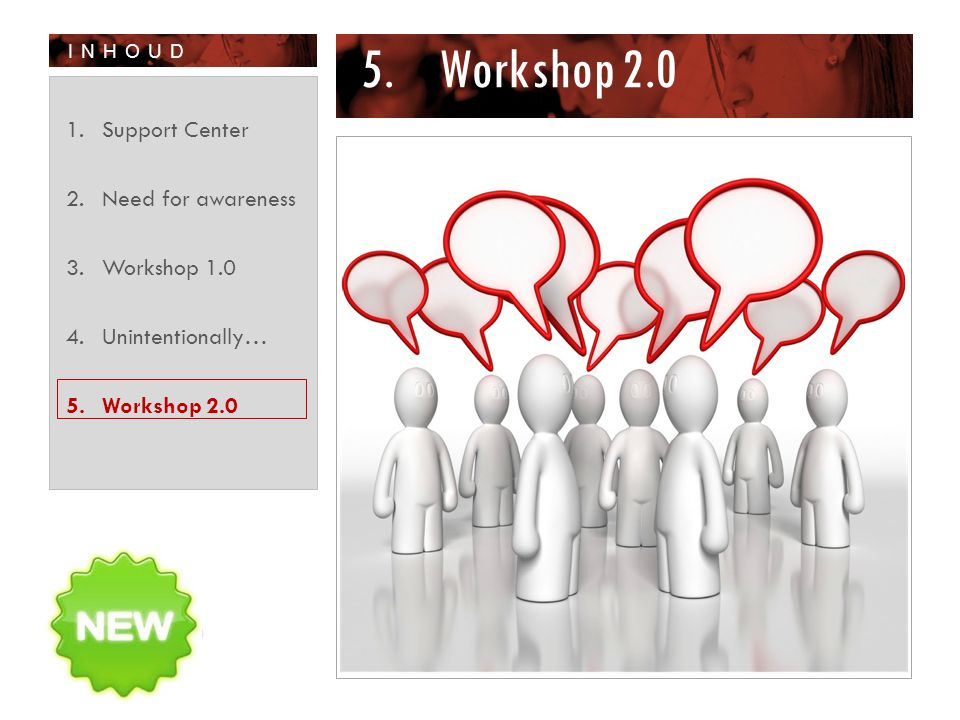 INHOUD 5.Workshop 2.0 1.Support Center 2.Need for awareness 3.Workshop 1.0 4.Unintentionally… 5.Workshop 2.0