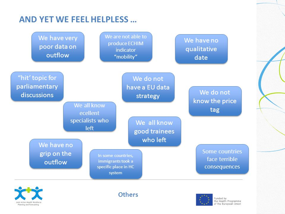 AND YET WE FEEL HELPLESS … We have very poor data on outflow We do not have a EU data strategy We all know ecellent specialists who left We all know good trainees who left We have no grip on the outflow We have no qualitative date We do not know the price tag Some countries face terrible consequences Others We are not able to produce ECHIM indicator mobility hit' topic for parliamentary discussions In some countries, immigrants took a specific place in HC system