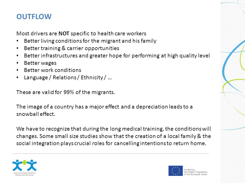 OUTFLOW Most drivers are NOT specific to health care workers Better living conditions for the migrant and his family Better training & carrier opportunities Better infrastructures and greater hope for performing at high quality level Better wages Better work conditions Language / Relations / Ethnicity / … These are valid for 99% of the migrants.