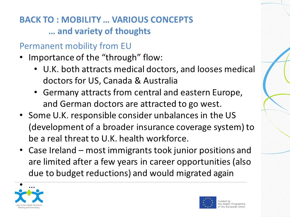 BACK TO : MOBILITY … VARIOUS CONCEPTS … and variety of thoughts Permanent mobility from EU Importance of the through flow: U.K.