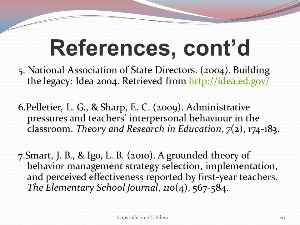 References 1.Baker, P. H. (2005).