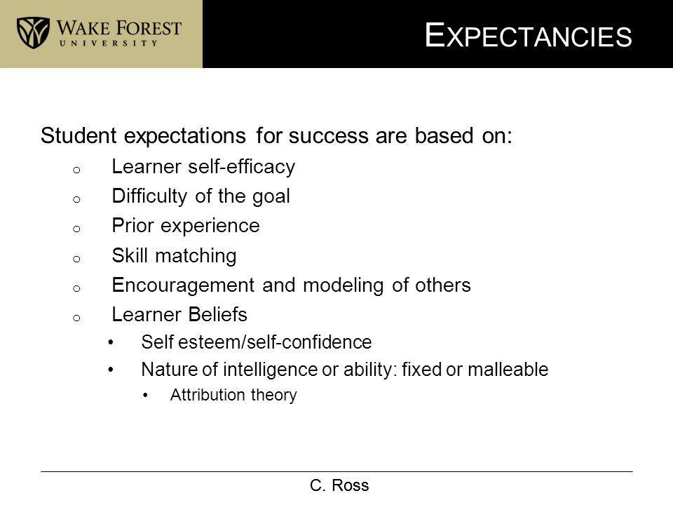 C. Ross E XPECTANCIES Student expectations for success are based on: o Learner self-efficacy o Difficulty of the goal o Prior experience o Skill match