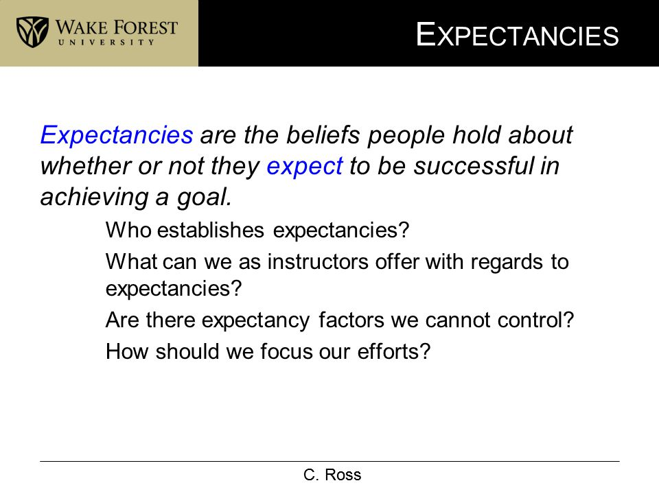 C. Ross E XPECTANCIES Expectancies are the beliefs people hold about whether or not they expect to be successful in achieving a goal. Who establishes