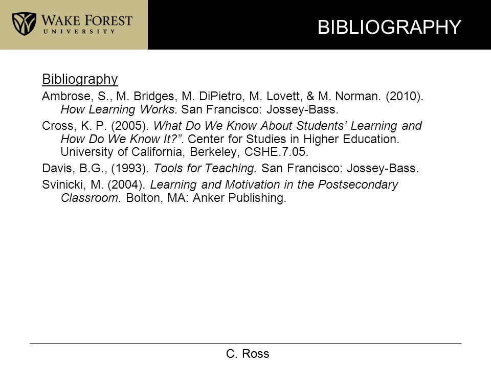C. Ross BIBLIOGRAPHY Bibliography Ambrose, S., M. Bridges, M. DiPietro, M. Lovett, & M. Norman. (2010). How Learning Works. San Francisco: Jossey-Bass