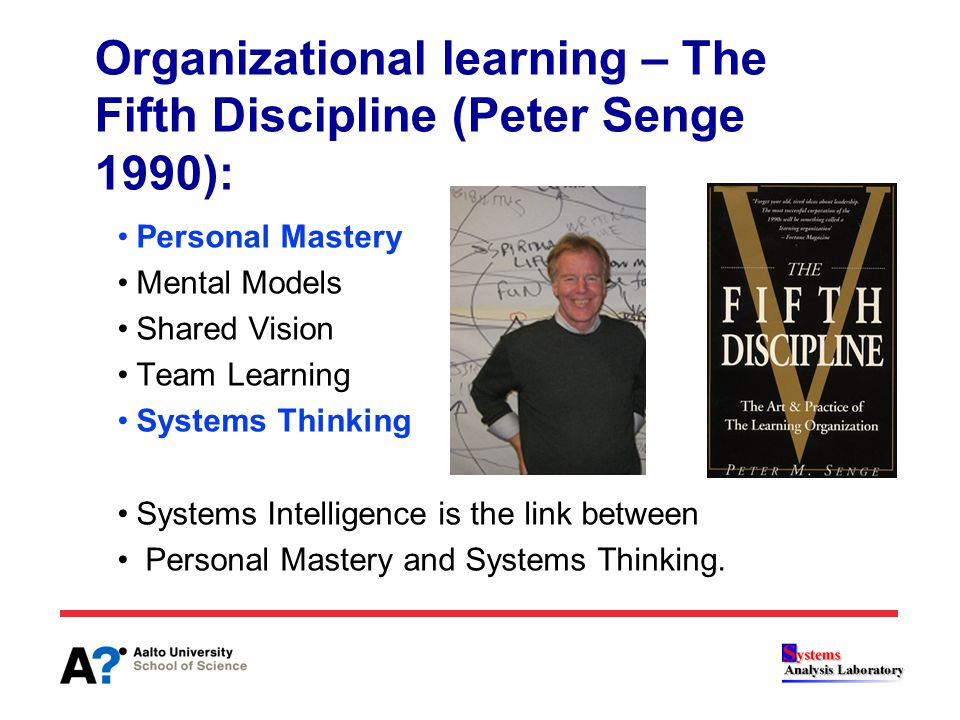 Organizational learning – The Fifth Discipline (Peter Senge 1990): Personal Mastery Mental Models Shared Vision Team Learning Systems Thinking Systems