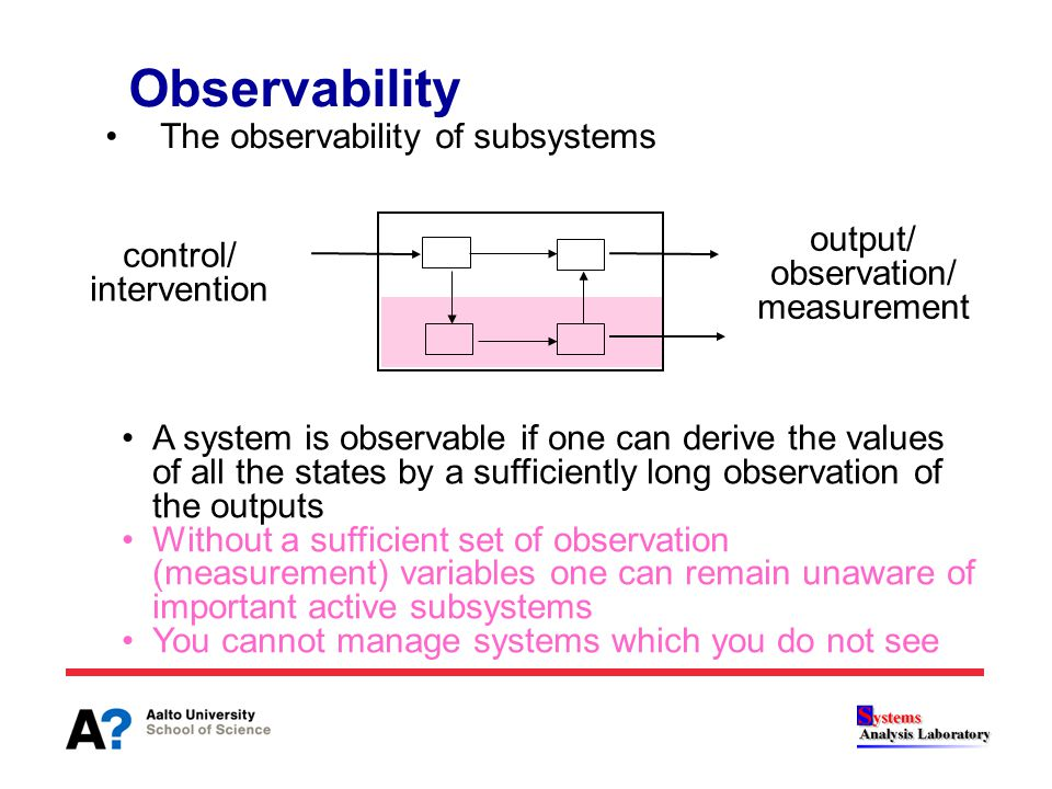The observability of subsystems Observability A system is observable if one can derive the values of all the states by a sufficiently long observation