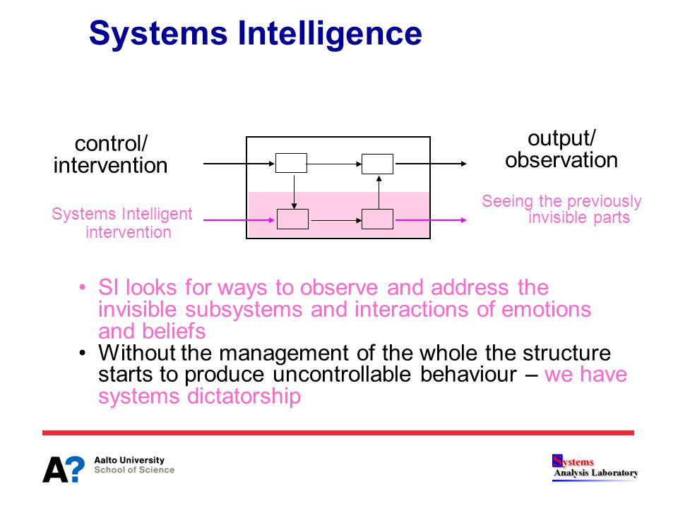 SI looks for ways to observe and address the invisible subsystems and interactions of emotions and beliefs Without the management of the whole the str