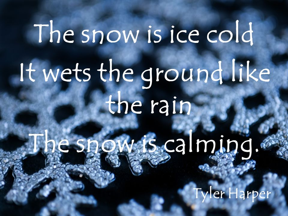 The snow is ice cold It wets the ground like the rain The snow is calming. Tyler Harper