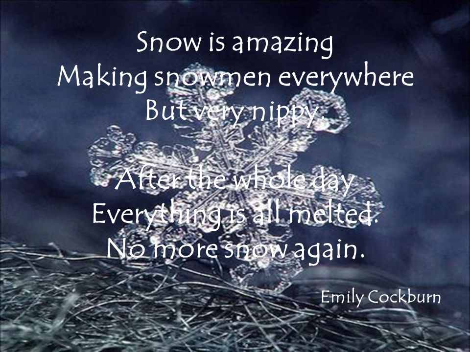 The snow can be cold. You can build a nice snowman. The snow is fragile. Eleanor Morten