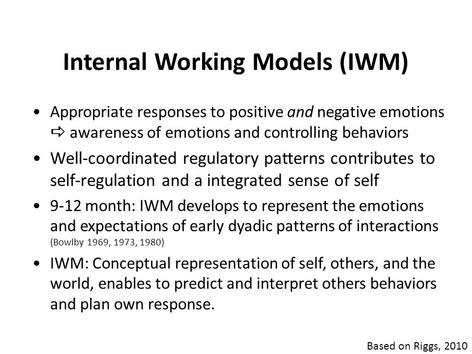 Internal Working Models (IWM) Appropriate responses to positive and negative emotions  awareness of emotions and controlling behaviors Well-coordinat