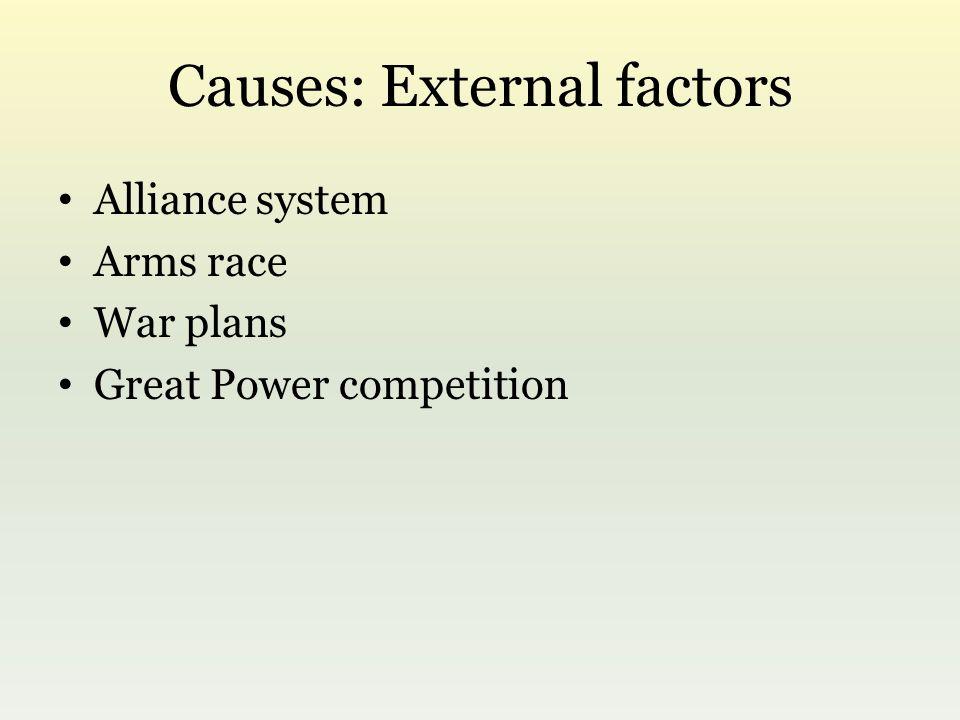 Causes: External factors Alliance system Arms race War plans Great Power competition