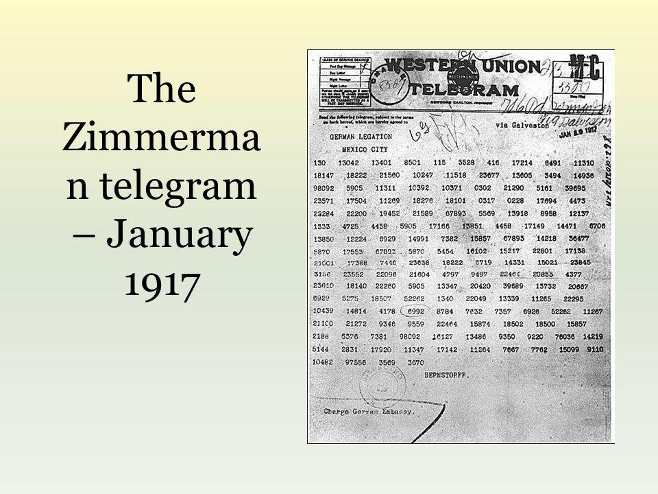 The Zimmerma n telegram – January 1917